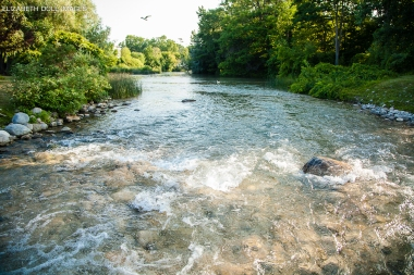 River running into Lake Michigan
