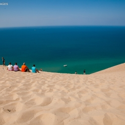 Lake Michigan at the bottom of the STEEEEEP dunes.